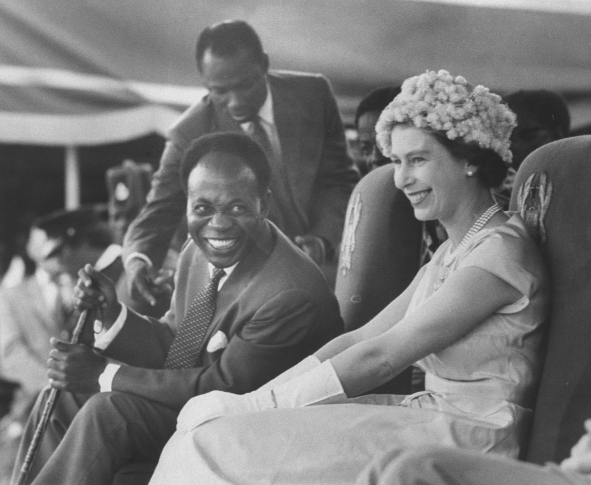 Queen Elizabeth II with Kwame Nkrumah during her visit to Ghana, November 1961