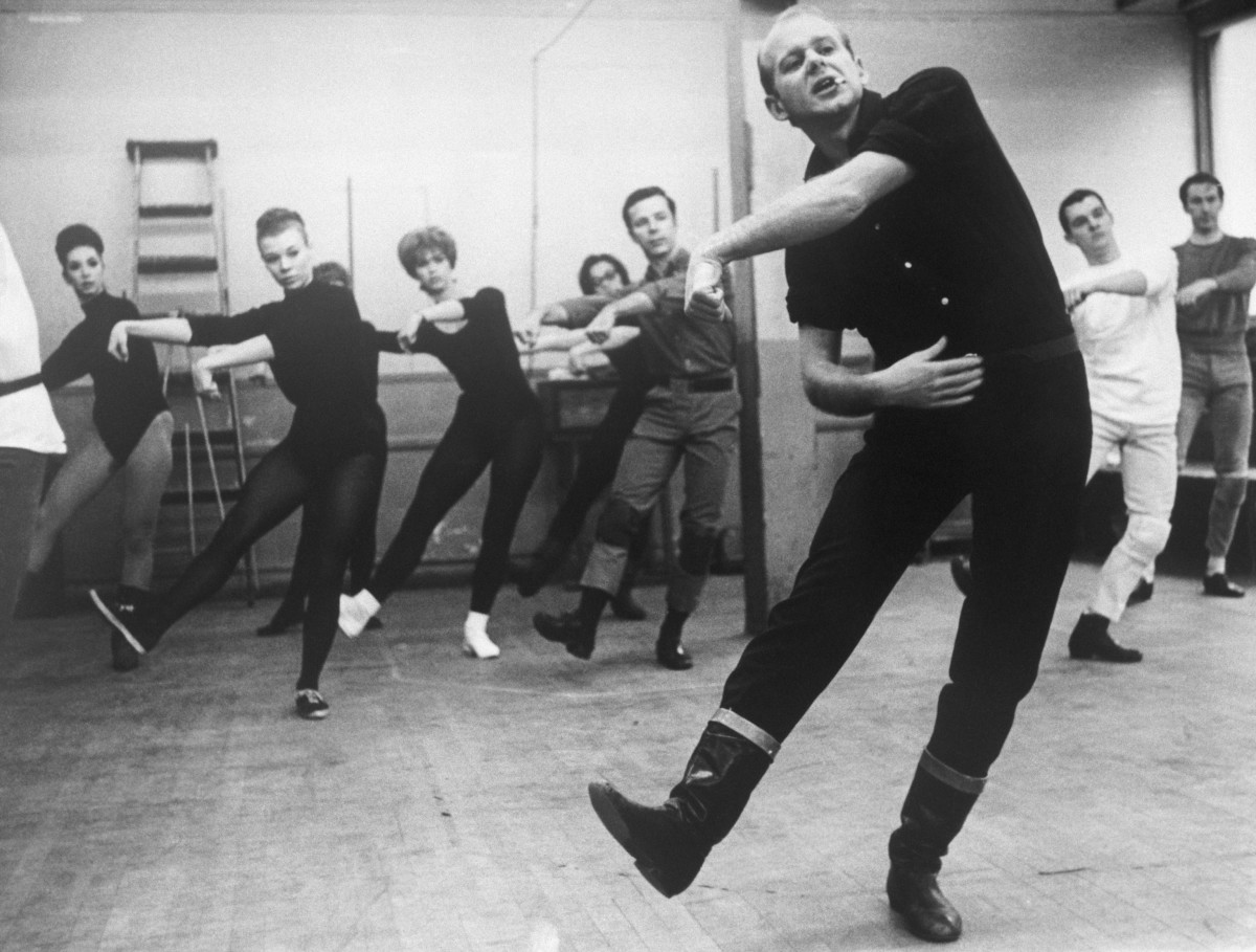 Bob Fosse leads dancers for the musical 'Pleasures and Palaces'