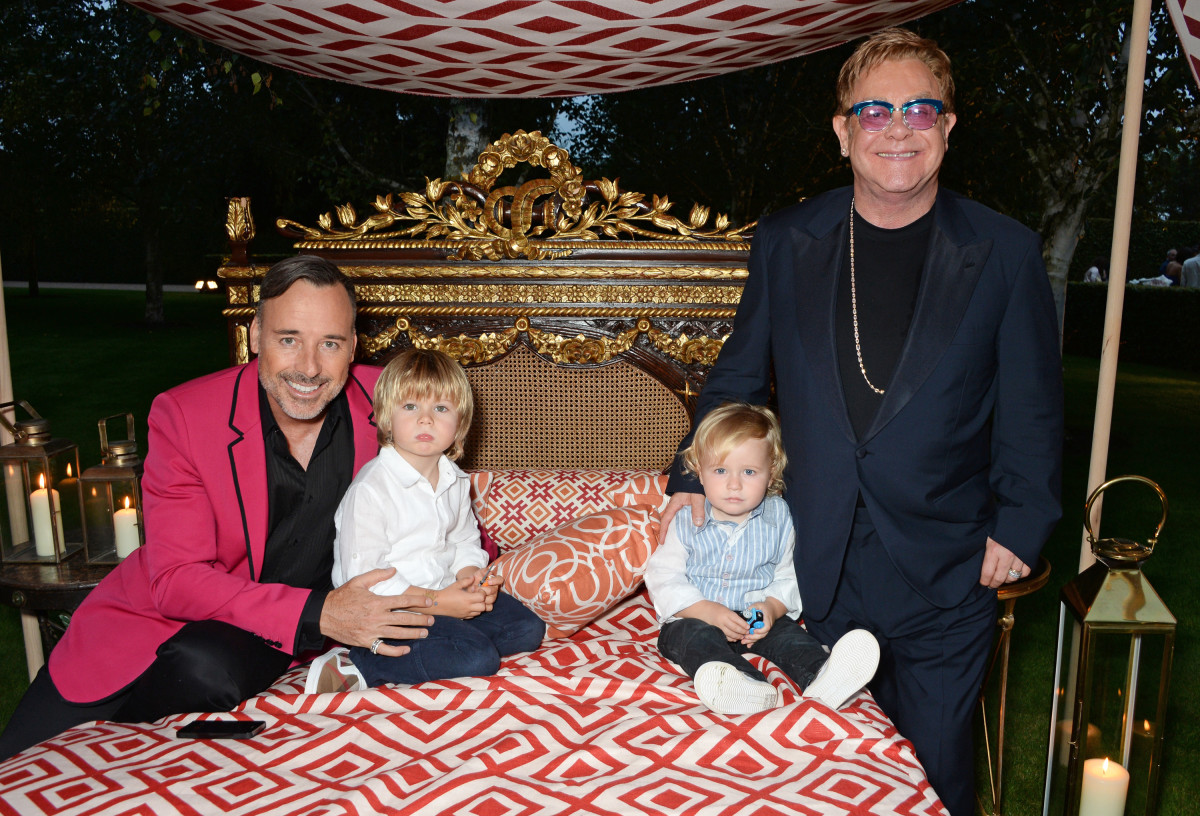 David Furnish, Zachary Furnish-John, Elijah Furish-John and Sir Elton John