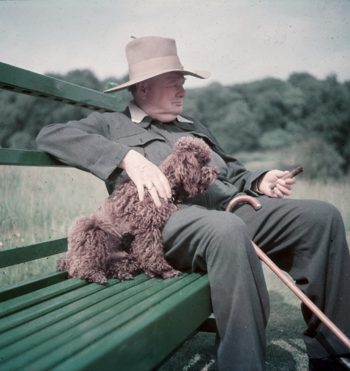 Winston Churchill with his poodle, Rufus