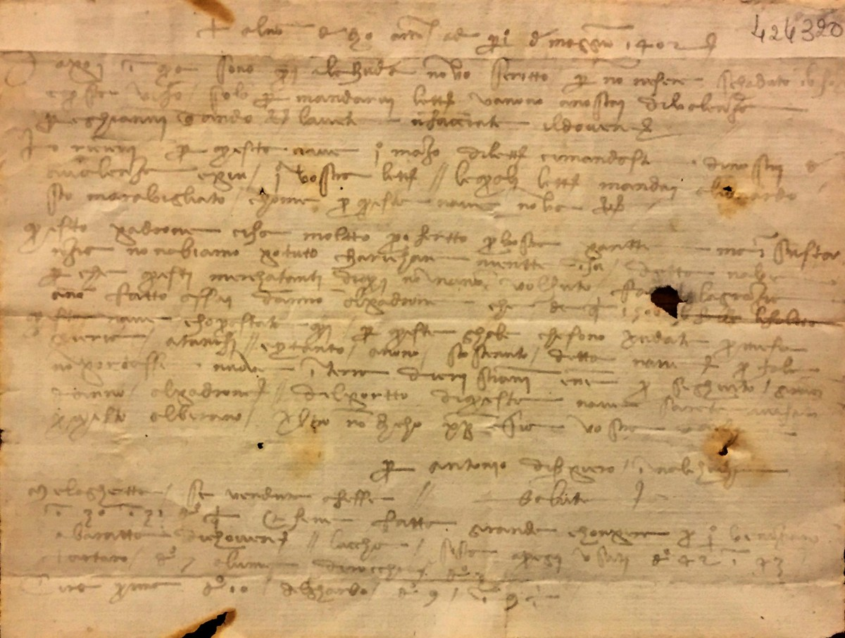 A letter written in 1402 by Leonardo da Vinci's grandfather, Antonio, from Morocco.