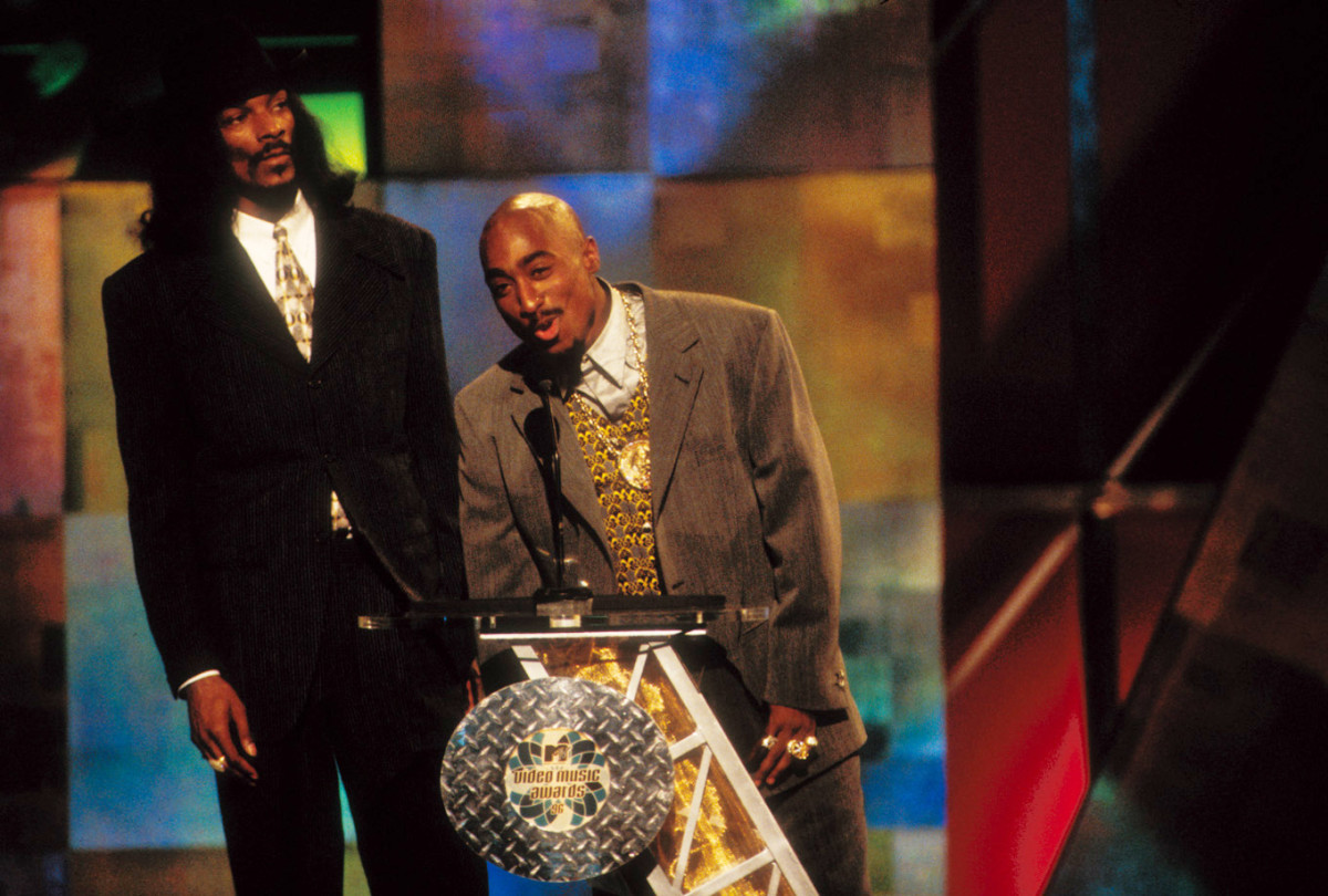 Tupac Shakur and Snoop Dog at the 1996 MTV Video Music Awards at Radio City Music Hall in New York City on September 4, 1996.