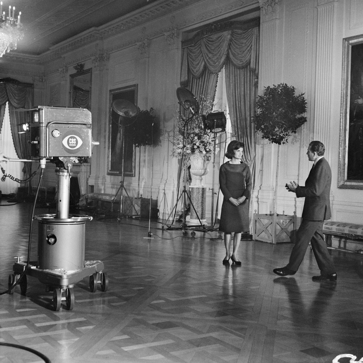 Jacqueline Kennedy in the East Room of the White House,