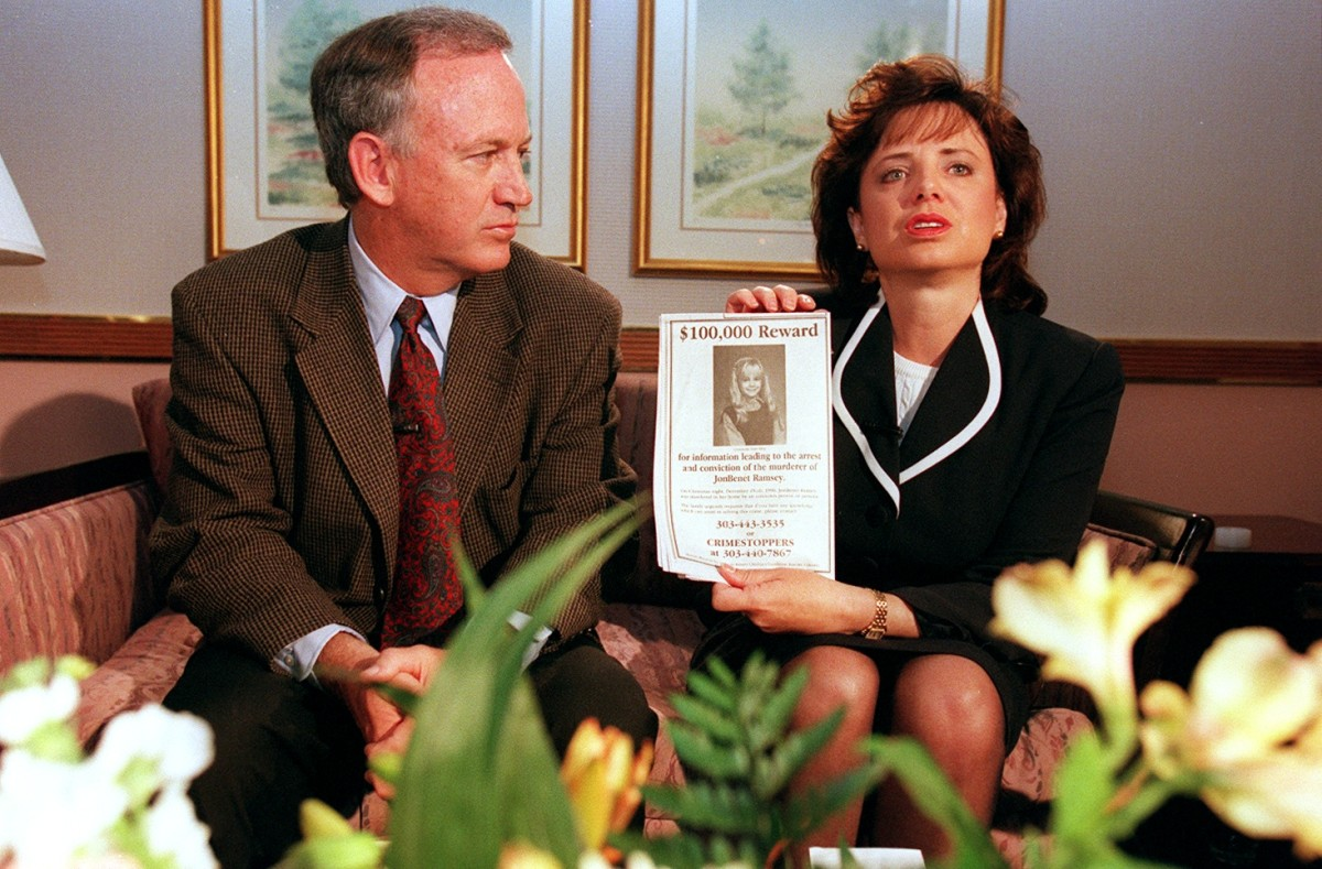 John and Patsy Ramsey meet with local Colorado media after four months of silence in Boulder, Colorado in May 1997