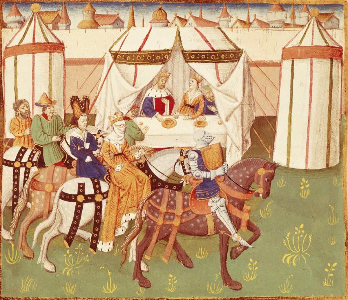 Illustration of King Arthur feast in Camelot by Thomas of Britain