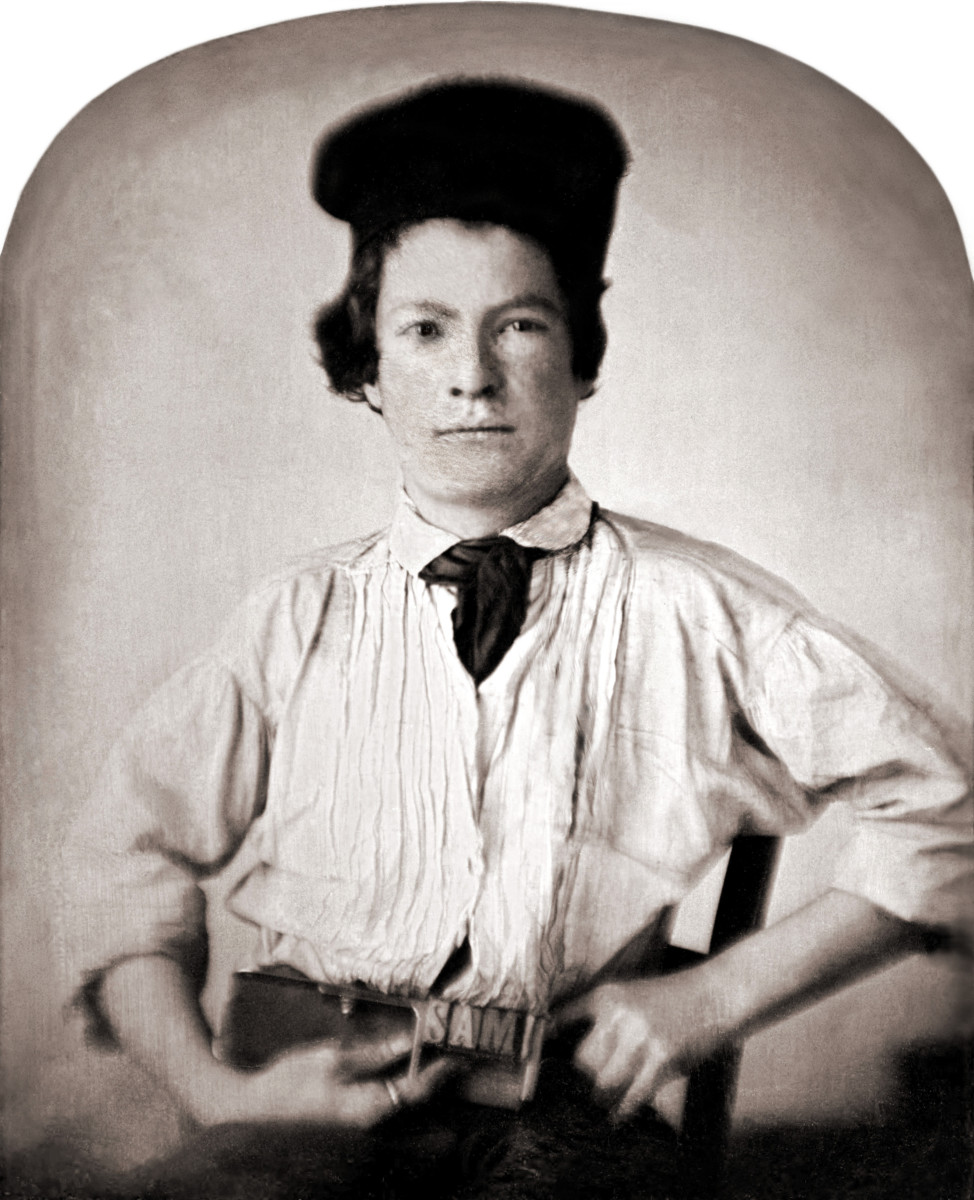 Portrait of Mark Twain at 15, holding a printer's composing stick with letters SAM