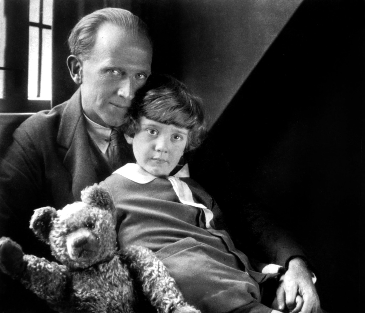 A.A. Milne and his son, Christopher Robin, with Pooh Bear