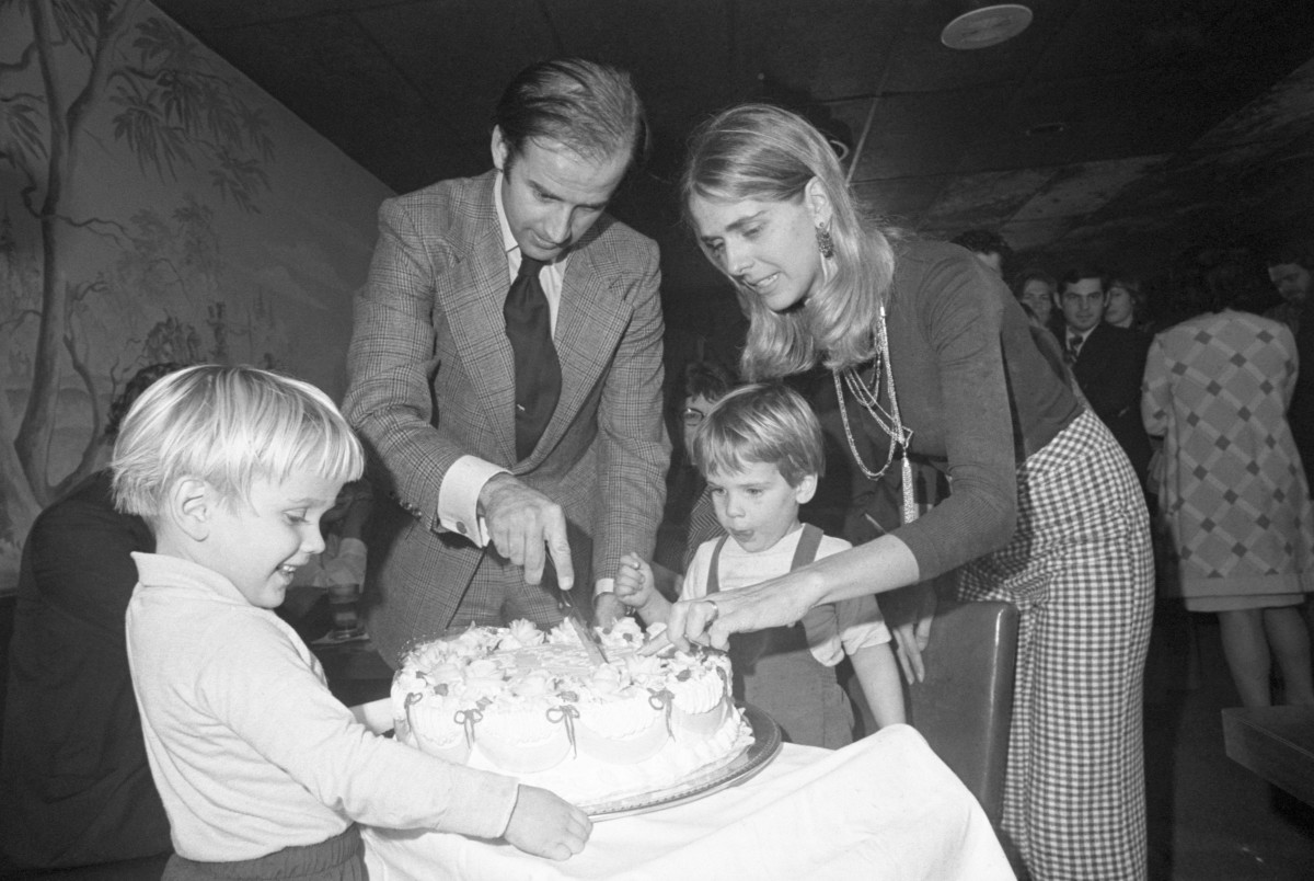 Joe Biden and first wife Neilia, with sons Hunter and Beau, cut his 30th birthday cake at a party in Wilmington, Delaware on November 20, 1972