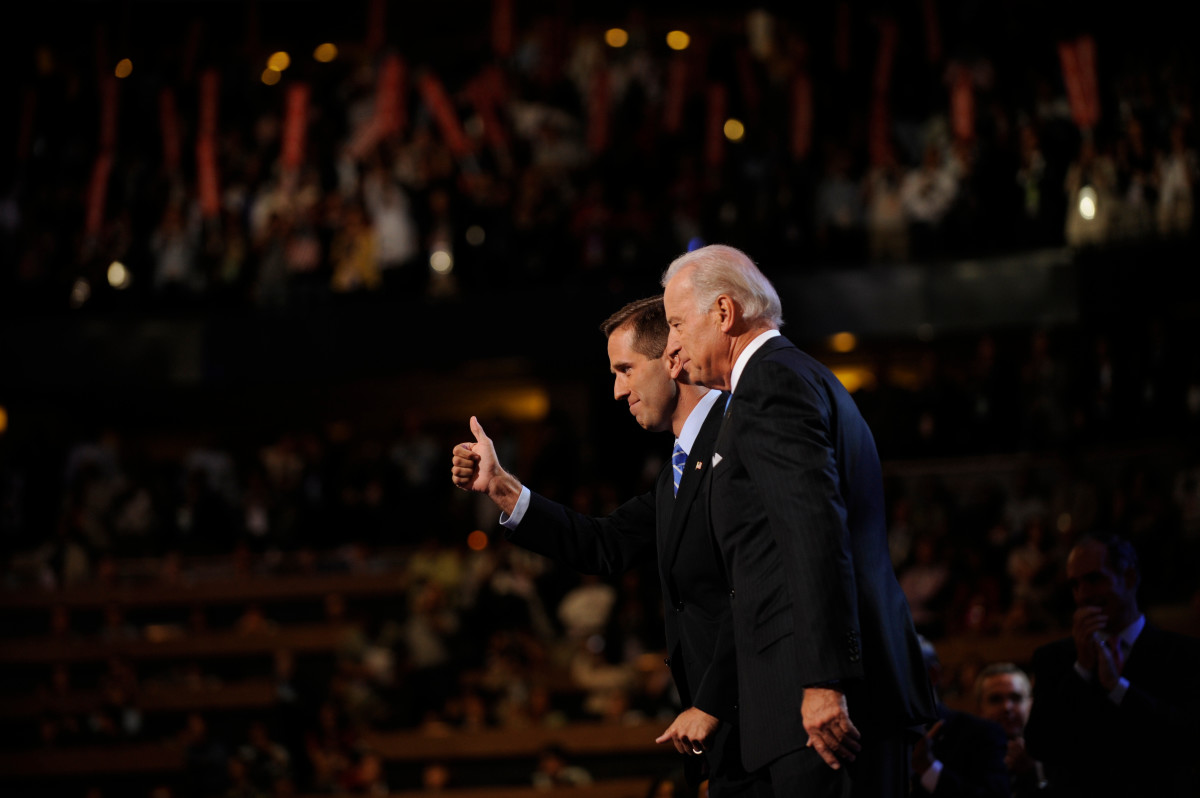 Beau Biden welcomes his dad, Joe Biden, at the Pepsi Center during the third day of the Democratic National Convention on August 27, 2008, in Denver, Colorado