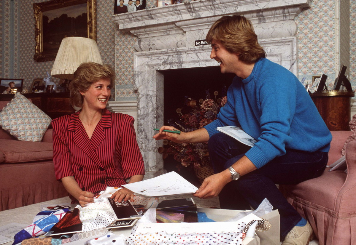 Princess Diana with designer David Emanuel at Kensington Palace