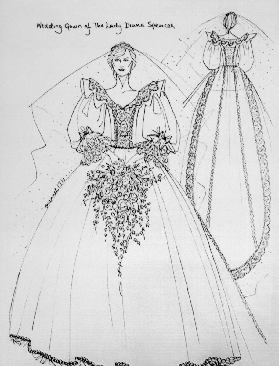 A sketch of Princess Diana's wedding gown