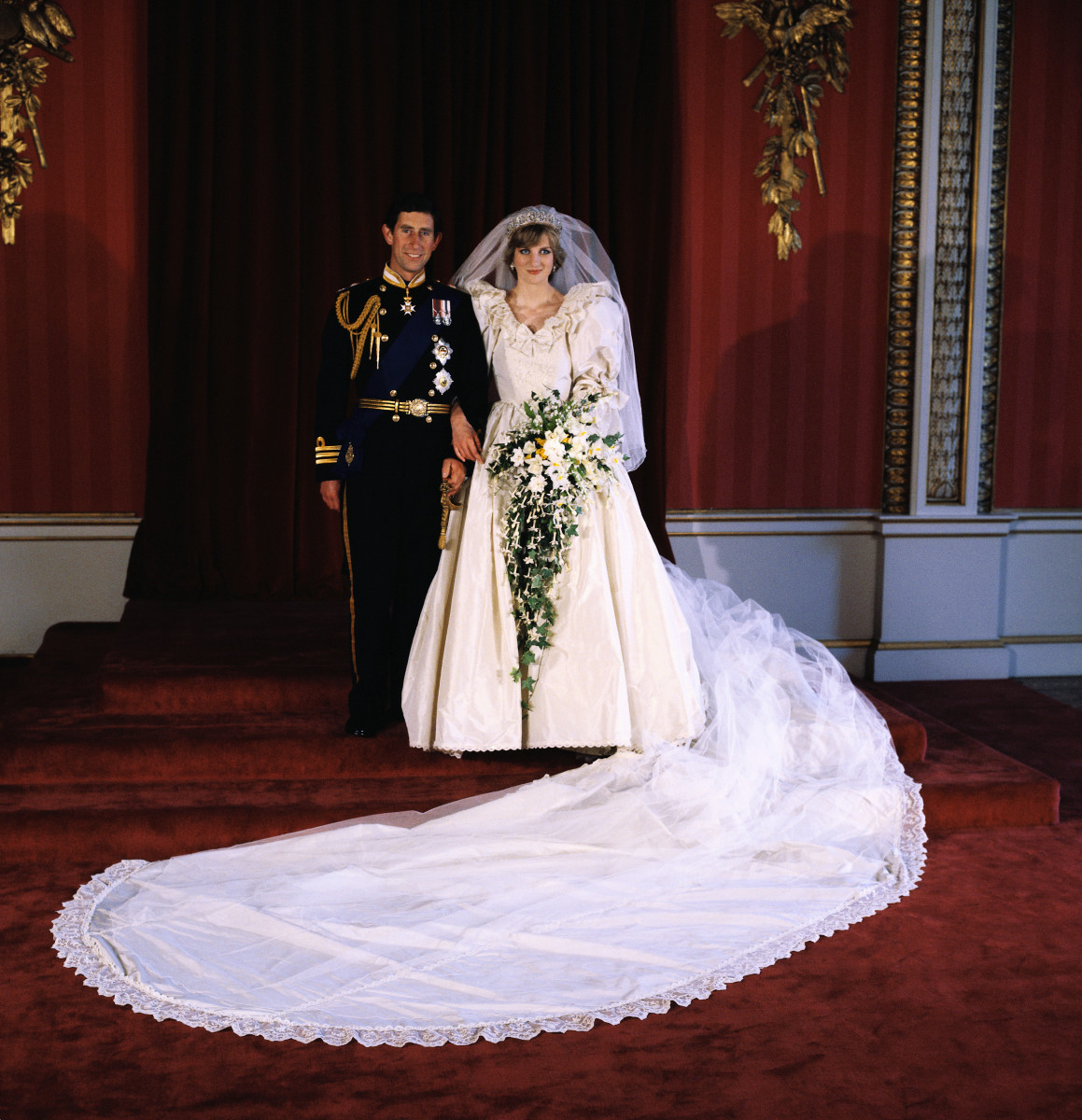 Princess Diana and Prince Charles pose in Buckingham Palace for their official wedding photograph on July 29, 1981
