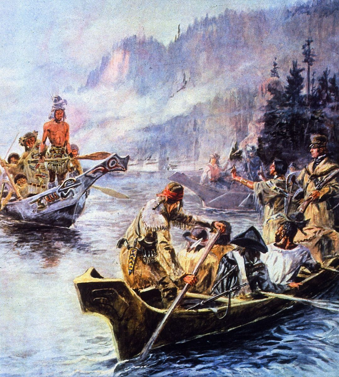 A painting depicting Sacajawea interpreting Lewis and Clark's intentions to the Chinook Native Americans