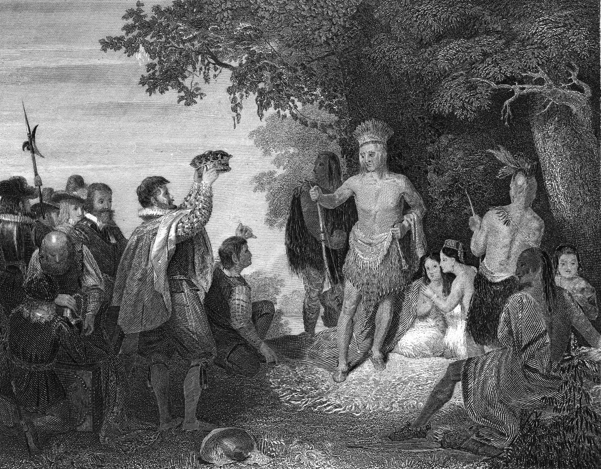 Christopher Newport offering a crown and other gifts to Chief Powhatan