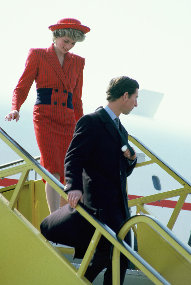 Princess Diana and Prince Charles exiting the Concorde in Vienna, Austria on April 14, 1986