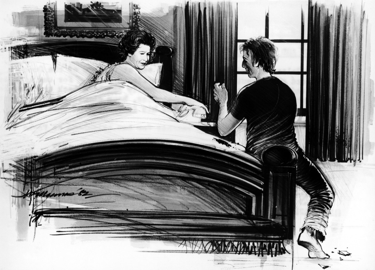 An artist's depiction of Michael Fagan sitting at the end of Queen Elizabeth II's bed