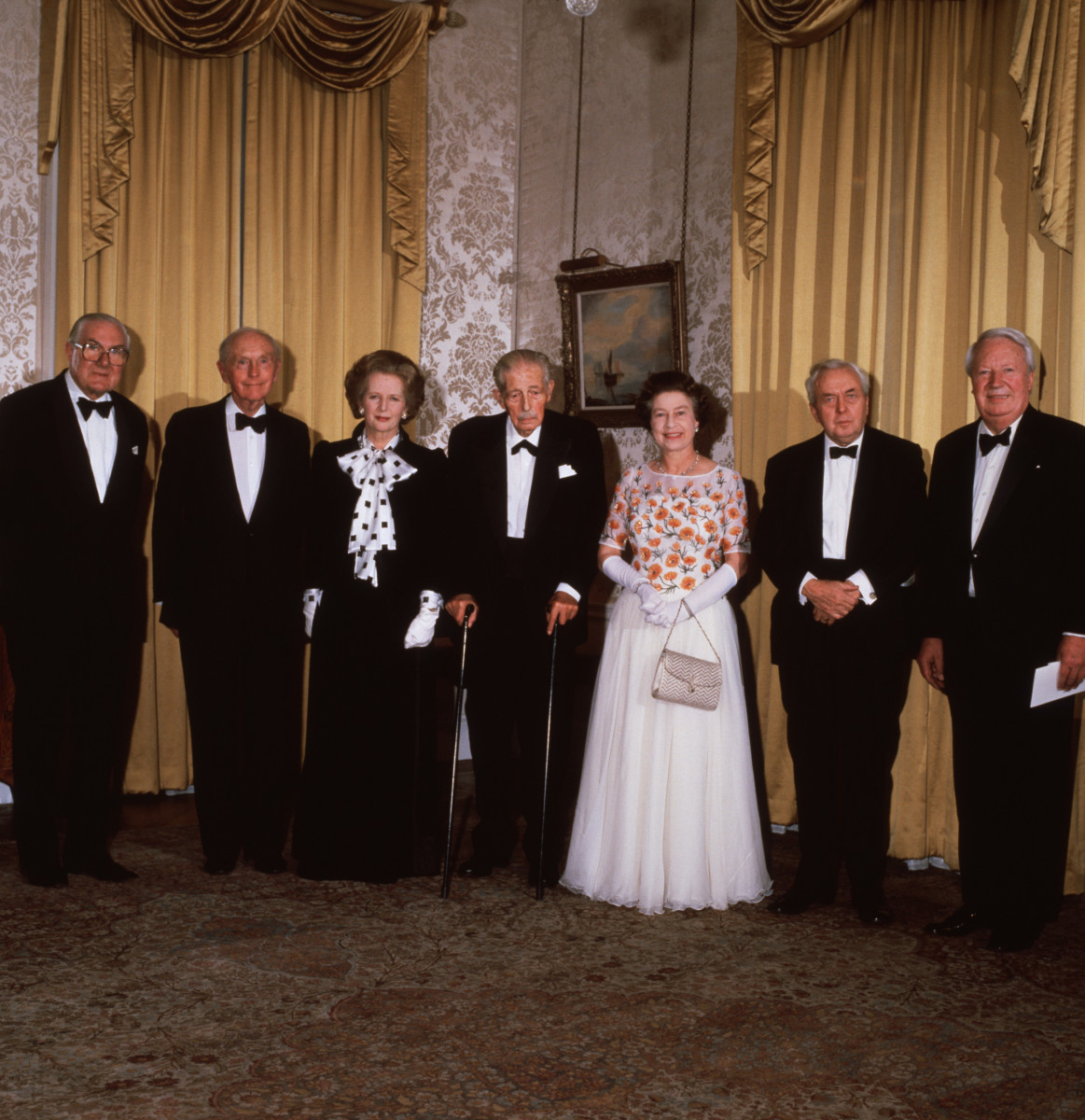 The Queen at 10 Downing Street to celebrate 250 years of it being the official residence of the British Prime Minister, with leaders past and present: (L to R) James Callaghan, Sir Alec Douglas-Home, Margaret Thatcher, Harold Macmillan Harold Wilson and Ted Heath