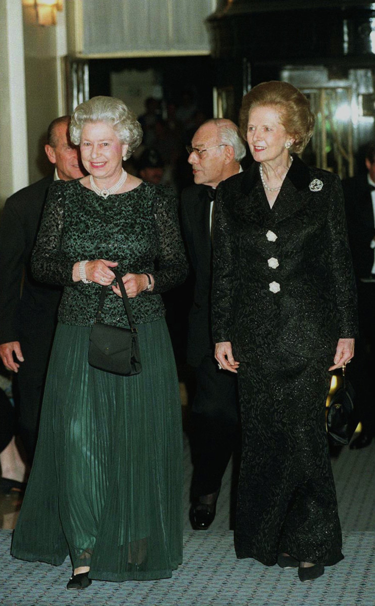 Queen Elizabeth II and Margaret Thatcher at the prime minister's 70th birthday celebration, October 16, 1995