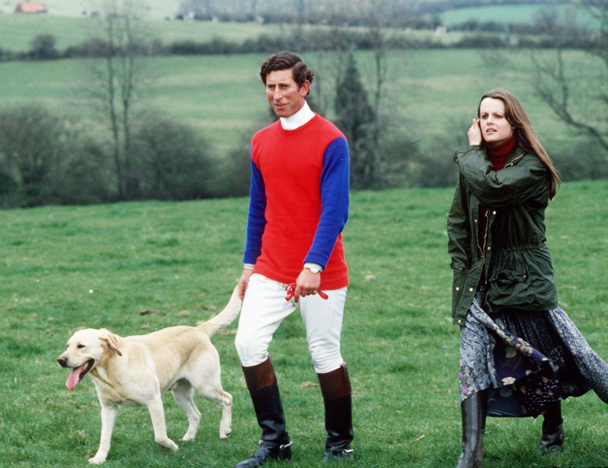 Prince Charles and Lady Jane Wellesley at a cross country event on April 16, 1978