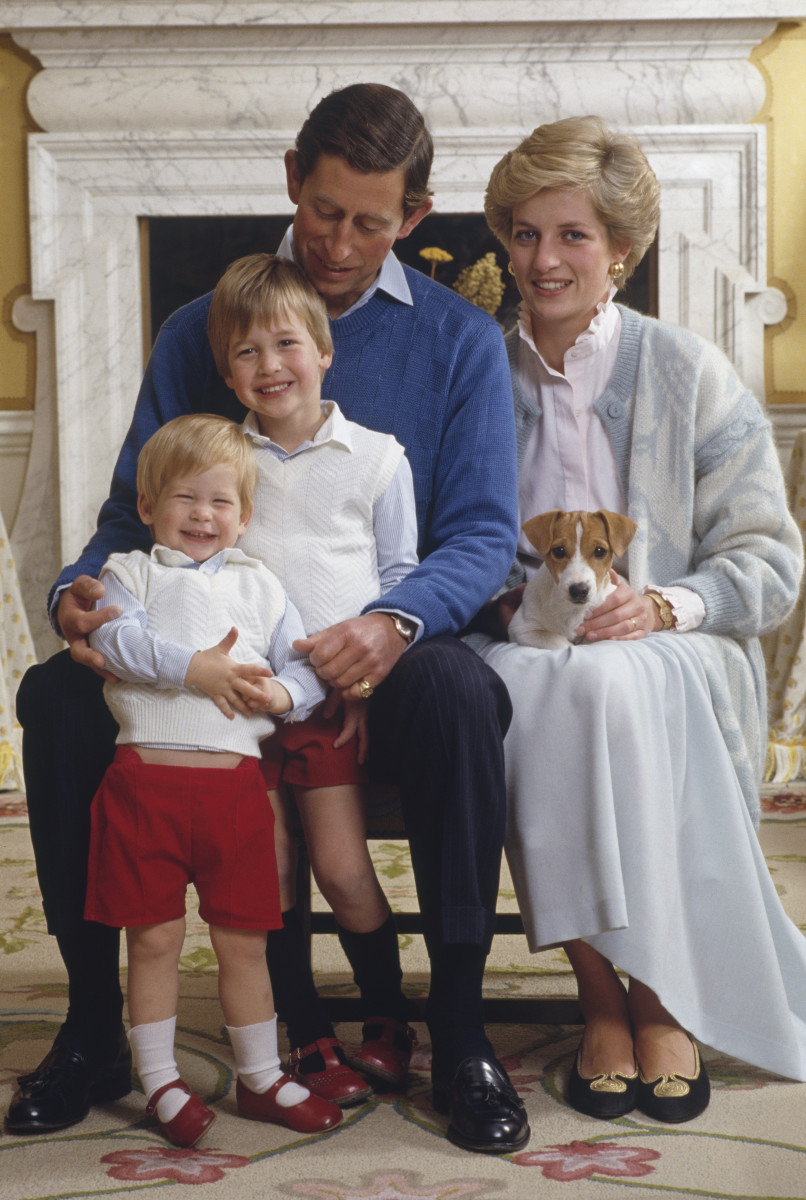 Prince Charles and  Princess Diana home in Kensington Palace, London, with their sons Prince William and Prince Harry (front), December 1986