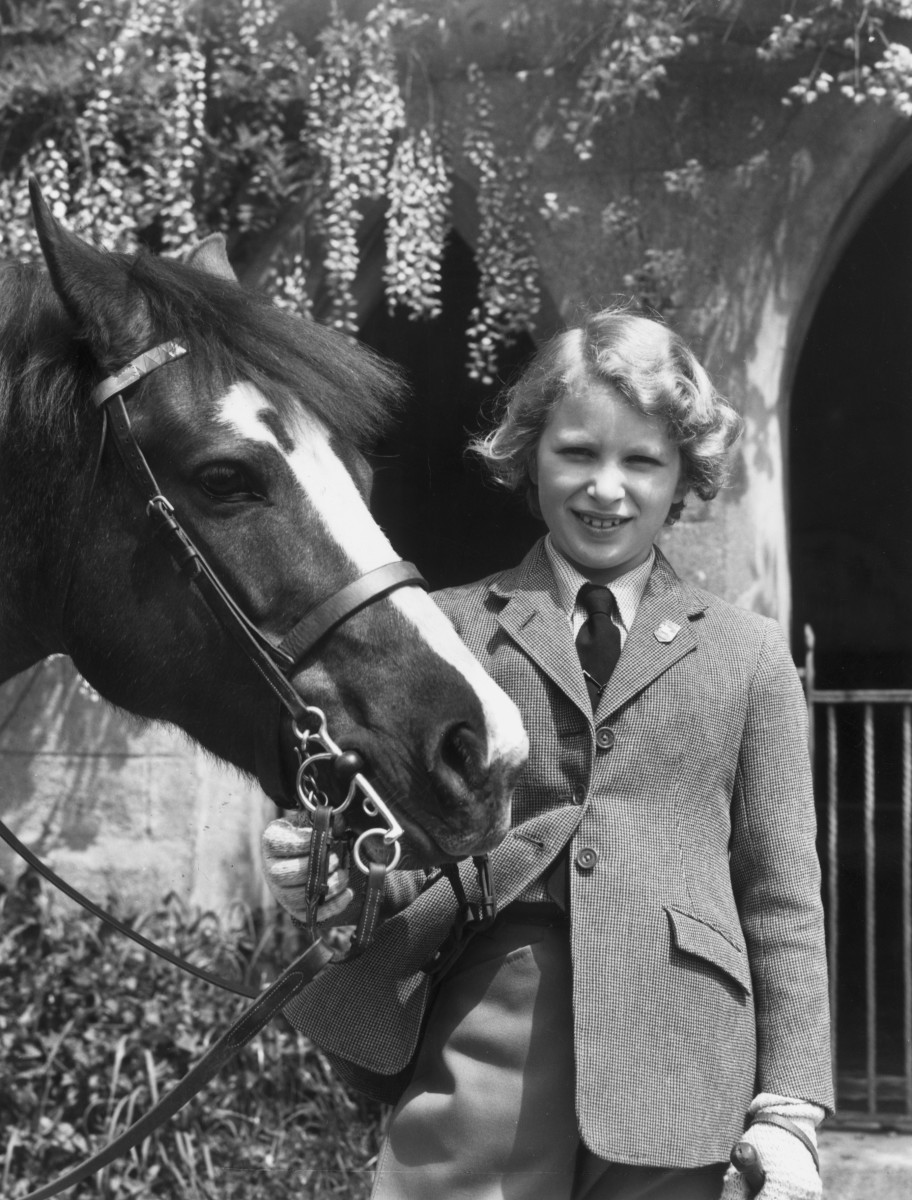 Princess Anne with her Welsh pony Greensleeves in 1960