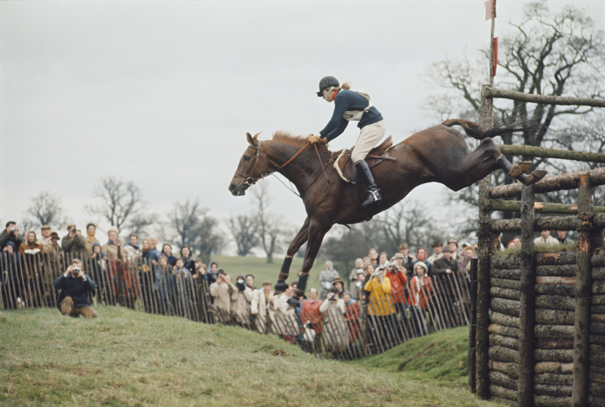 Princess Anne clearing a fence on her horse Doublet at the Badminton Horse Trials in Gloucestershire, England on April 26, 1971