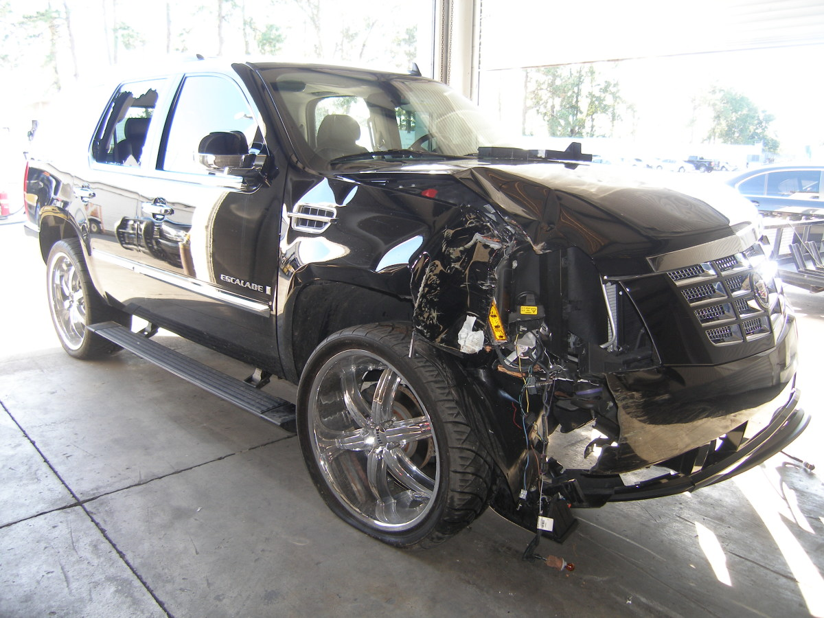 The SUV driven by Tiger Woods during his accident on November 27, 2009.