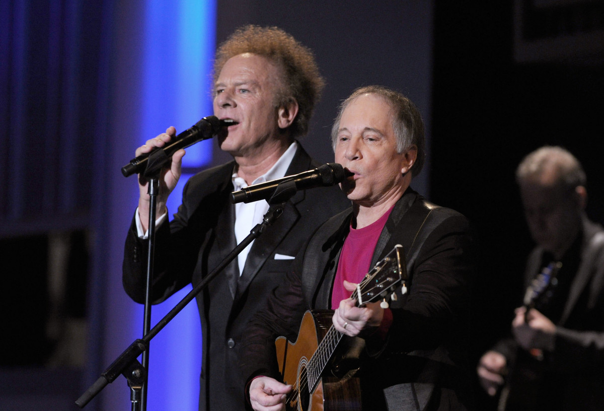 Simon & Garfunkel perform during the 38th AFI Life Achievement Award honoring Mike Nichols held at Sony Pictures Studios on June 10, 2010, in Culver City, California
