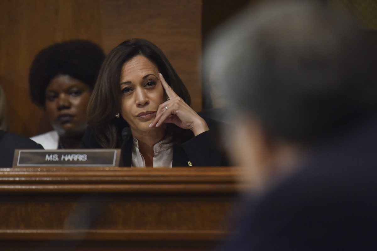 Kamala Harris questions Attorney General William Barr as Barr testifies before the Senate Judiciary Committee at the Dirksen Building on May 1, 2019, in Washington, D.C.