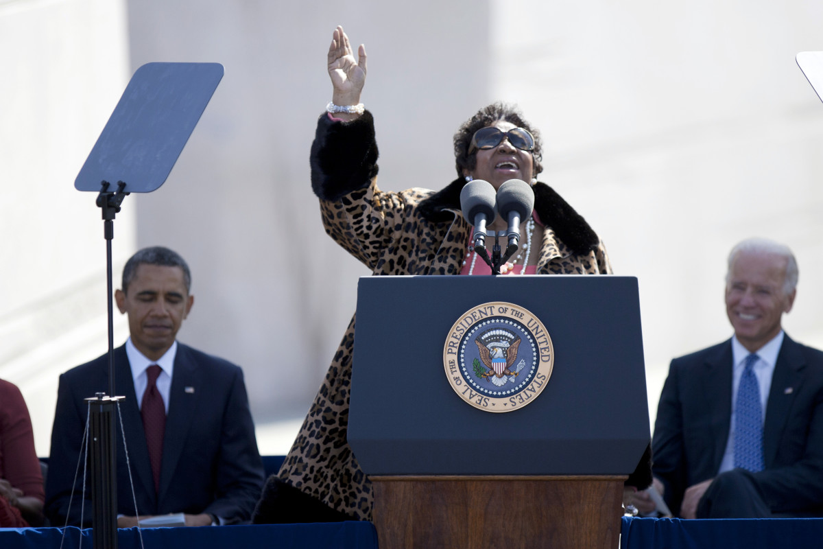 Aretha Franklin sings at the opening of the Martin Luther King Jr. Memorial dedication ceremony in Washington, D.C. on October 16, 2011