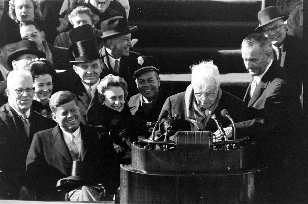 """Robert Frost reading his poem """"The Gift Outright"""" at John F. Kennedy's inaugural ceremony on January 20, 1961"""