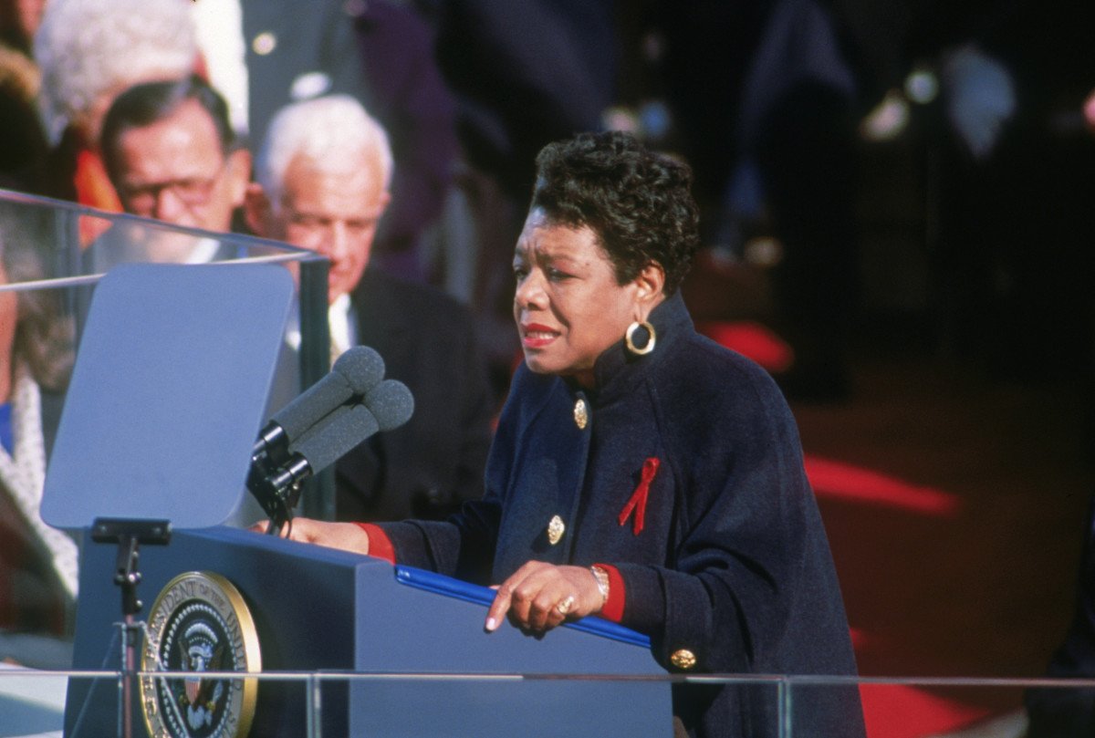 """Maya Angelou reciting her poem """"On the Pulse of Morning"""" at the inauguration of Bill Clinton in Washington, D.C. on January 20, 1993"""