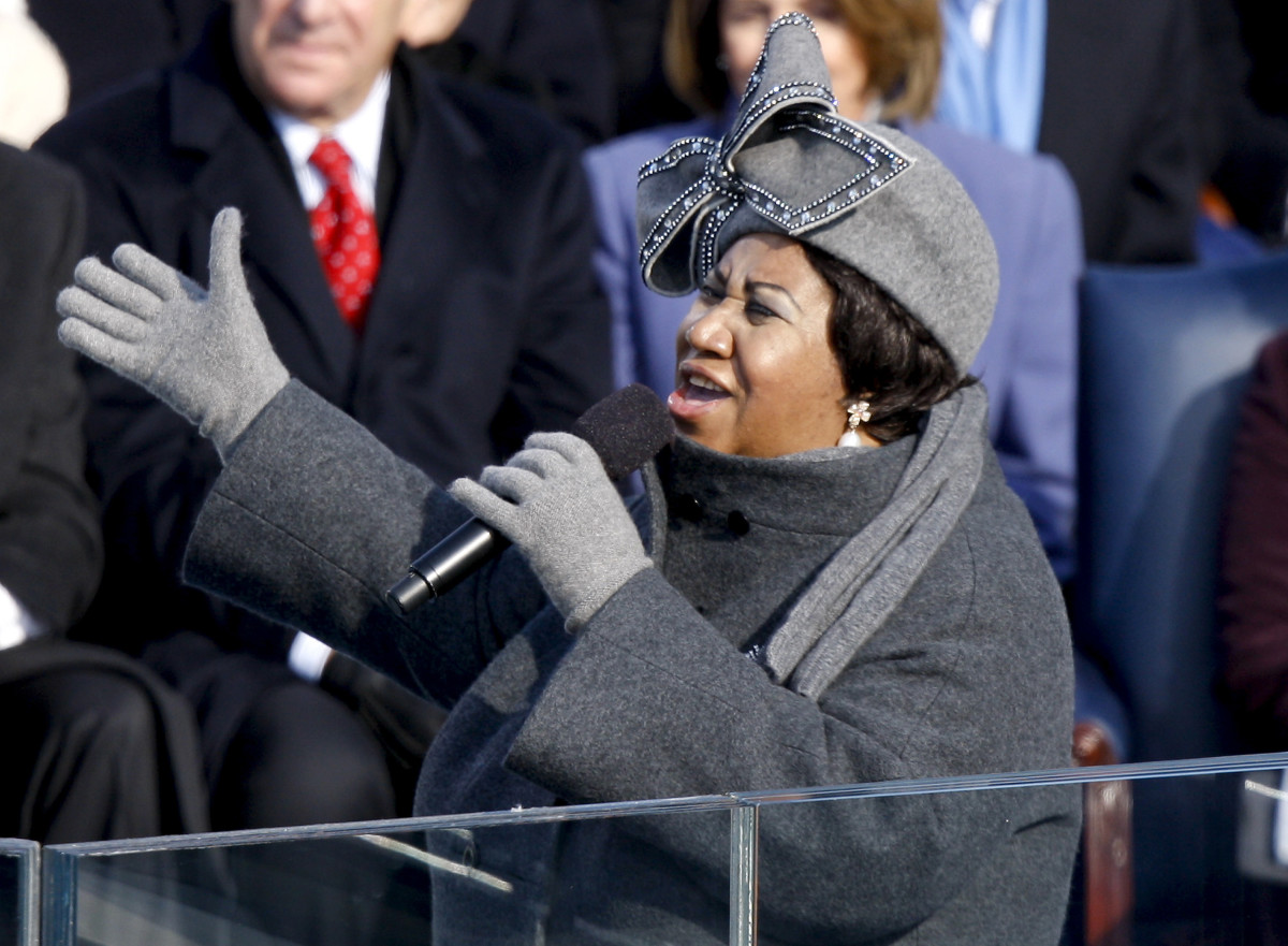 Aretha Franklin performs during the inauguration ceremony for Barack Obama at the U.S. Capitol on January 20, 2009