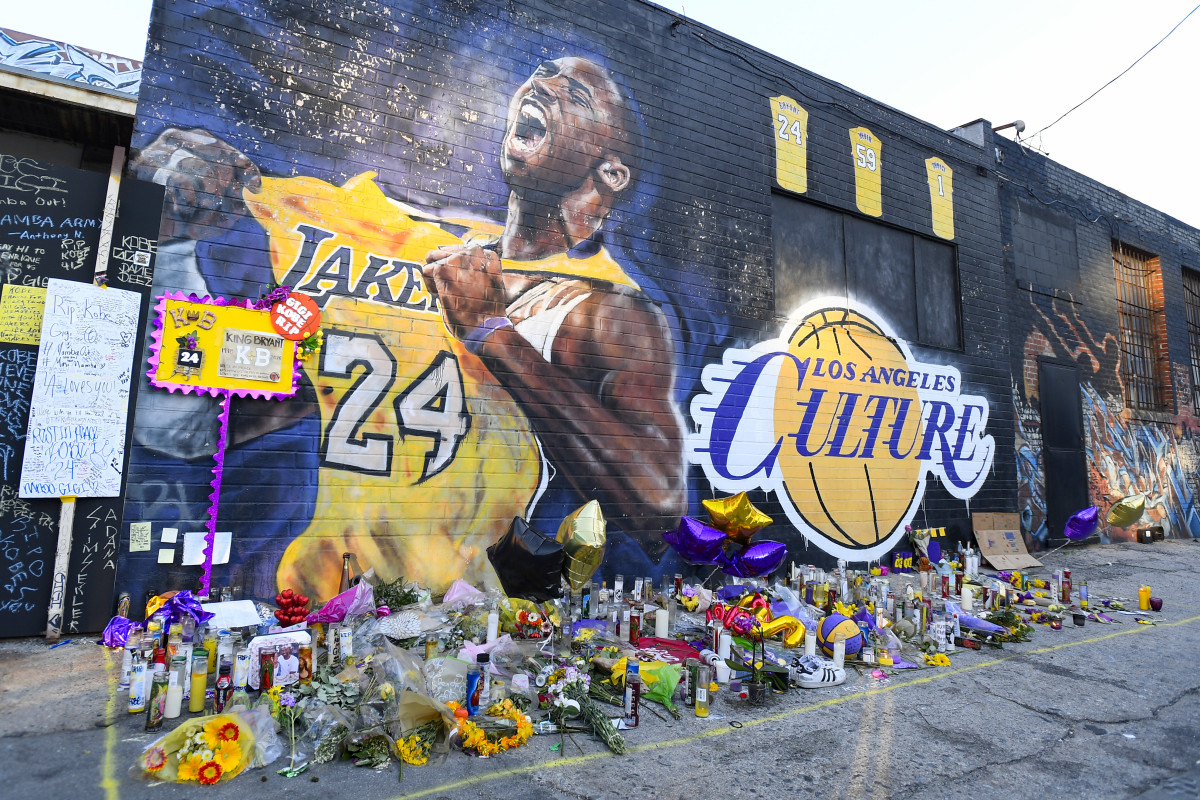 A mural for Kobe Bryant and his daughter Gianna outside the Staples Center in Los Angeles, California on February 1, 2020