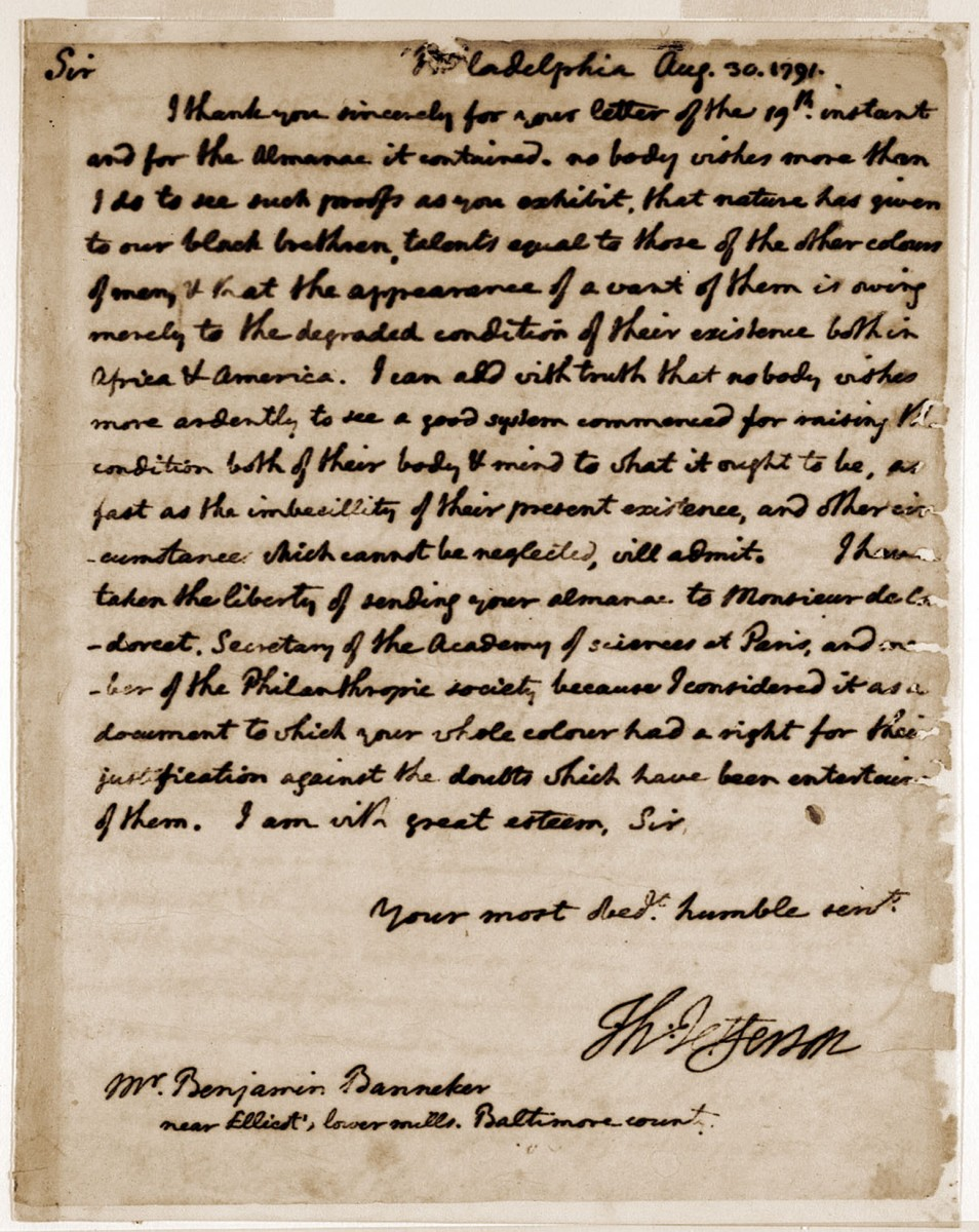 Thomas Jefferson's letter to Benjamin Banneker dated August 30, 1791