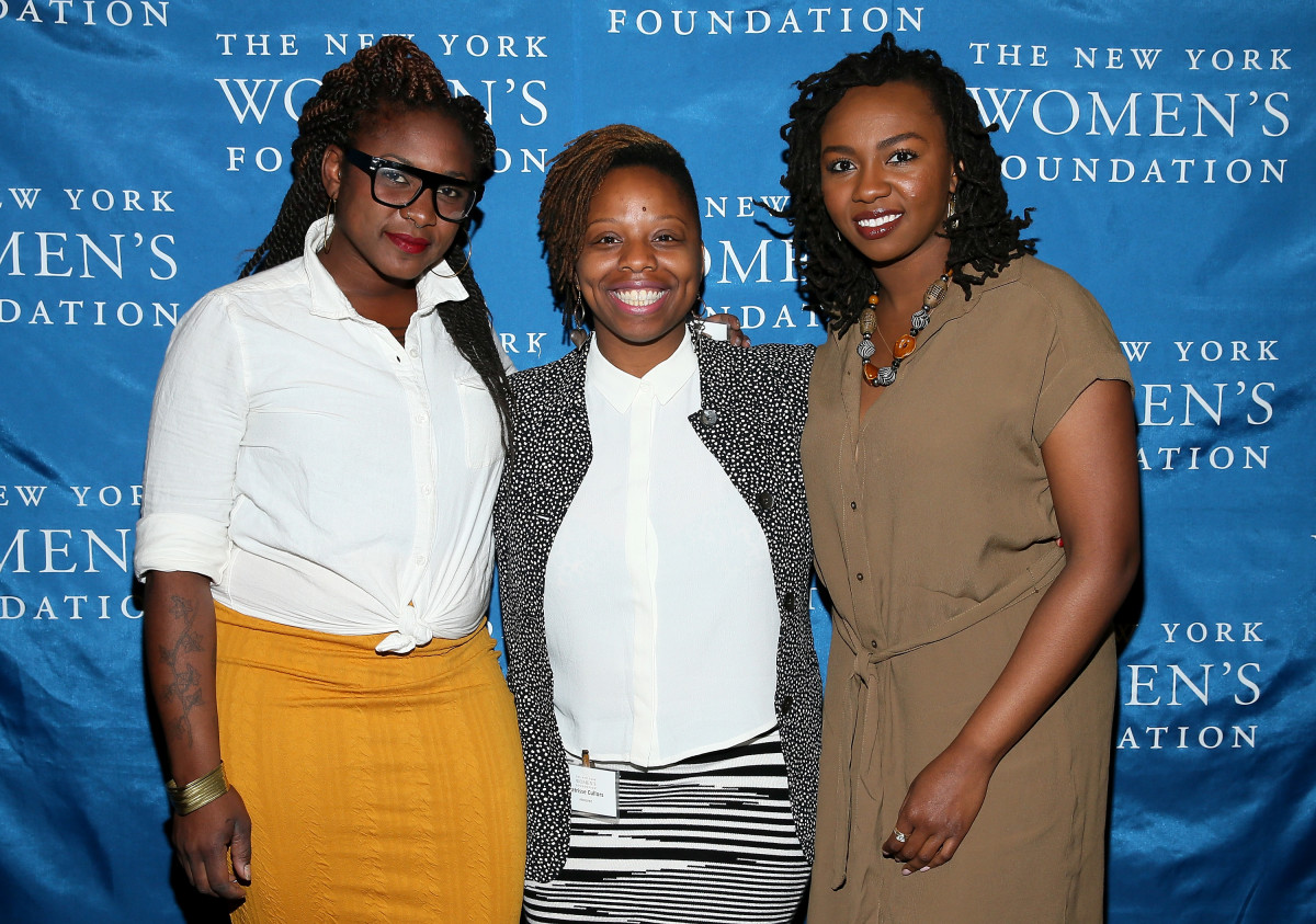 (L-R) Alicia Garza, Patrisse Cullors and Opal Tometi attend The New York Women's Foundation Celebrating Women Breakfast at Marriott Marquis Hotel on May 14, 2015, in New York City