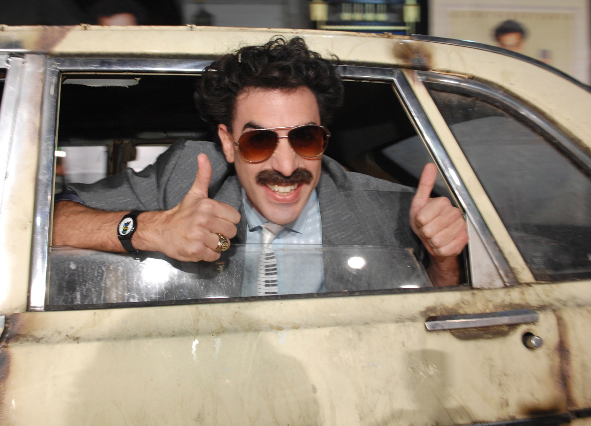 """Sacha Baron Cohen as Borat during the world premiere of """"Borat: Cultural Learnings of America For Make Benefit Glorious Nation of Kazakhstan"""" at Mann's Chinese Theater in Hollywood, California, on October 23, 2006"""