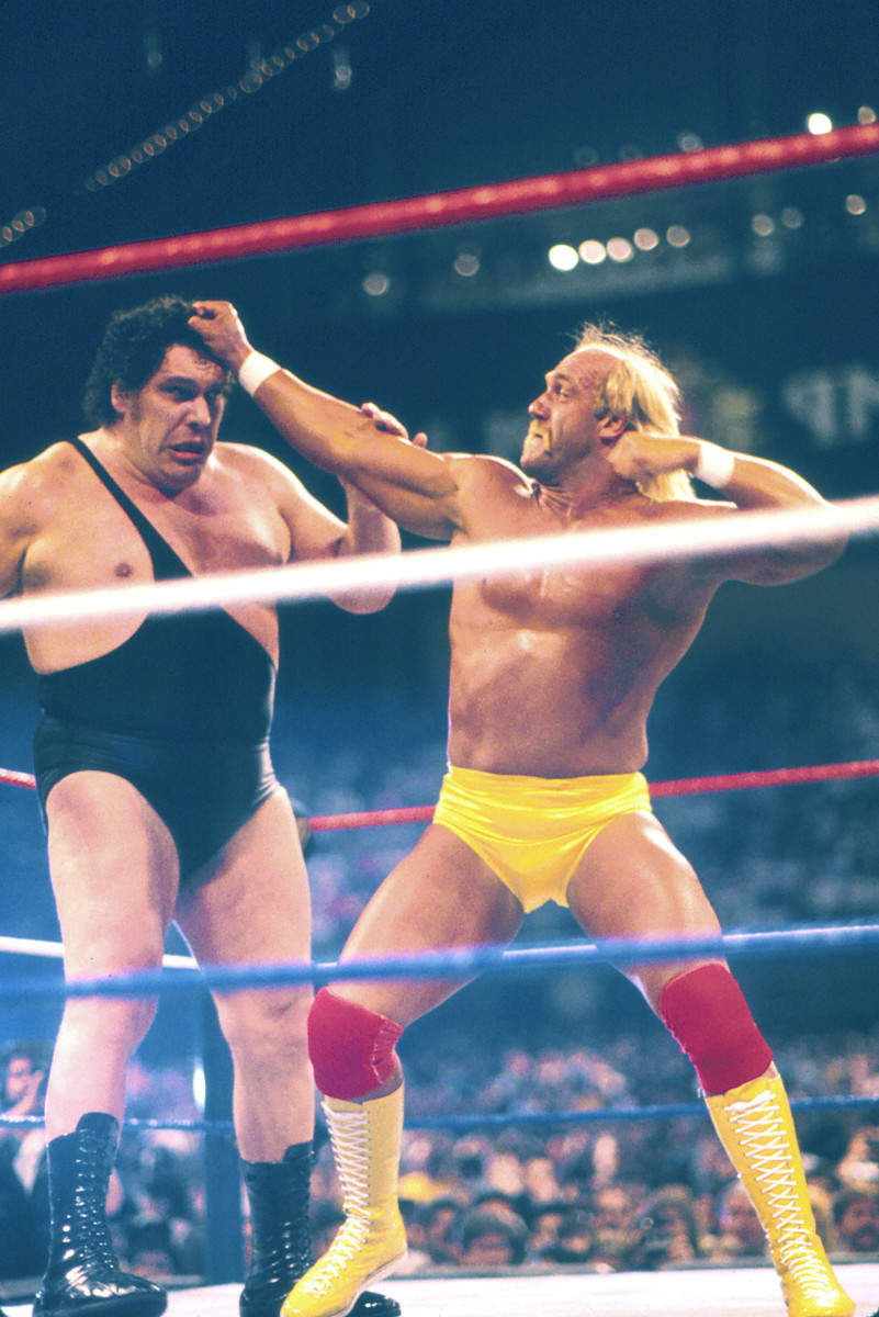 Hulk Hogan vs. Andre the Giant at WrestleMania Vl on March 27 1988 at Historic Convention Hall in Atlantic City, New Jersey