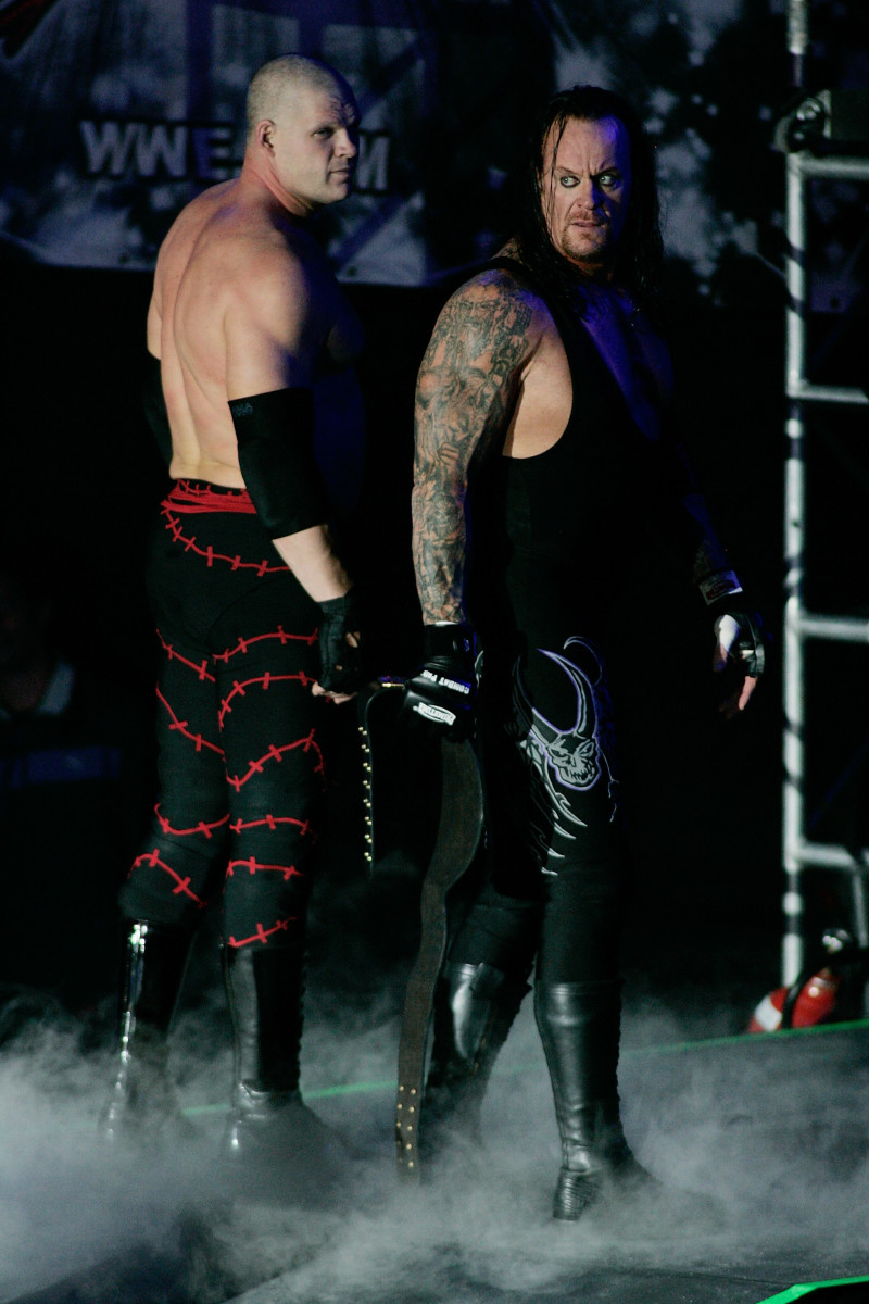 Kane and the Undertaker during a WWE Smackdown at Plaza Vicente Fernandez in Guadalajara, Mexico on February 14, 2010