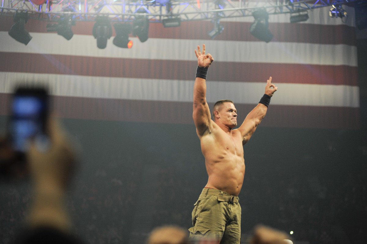 John Cena performs during the 10th anniversary of WWE Tribute to the Troops at Norfolk Scope Arena in Norfolk, Virginia on December 9, 2012