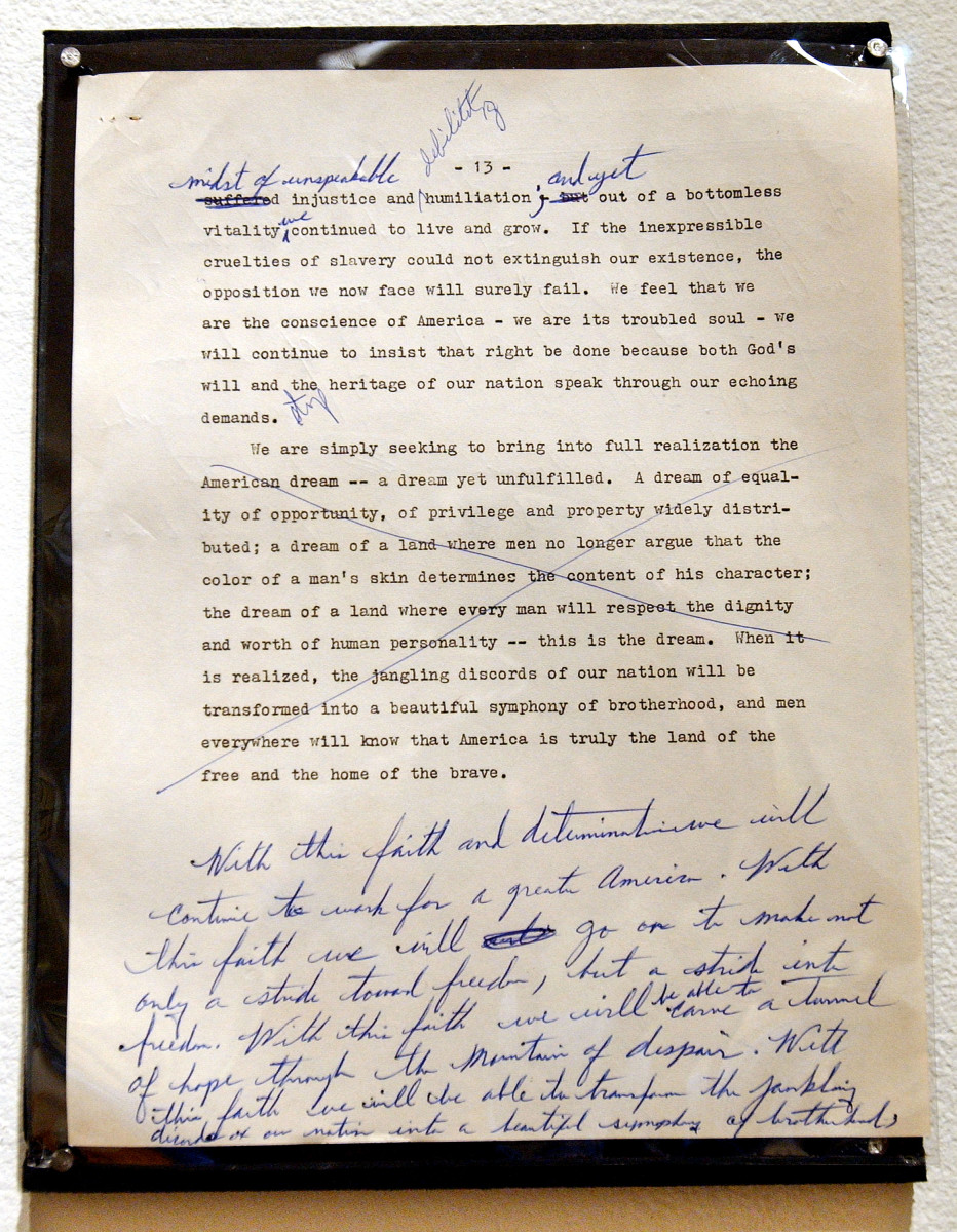 """A draft of a Martin Luther King speech to the National Press Club with handwritten changes. The crossed-out section was to appear a year later in the """"I Have A Dream Speech."""""""