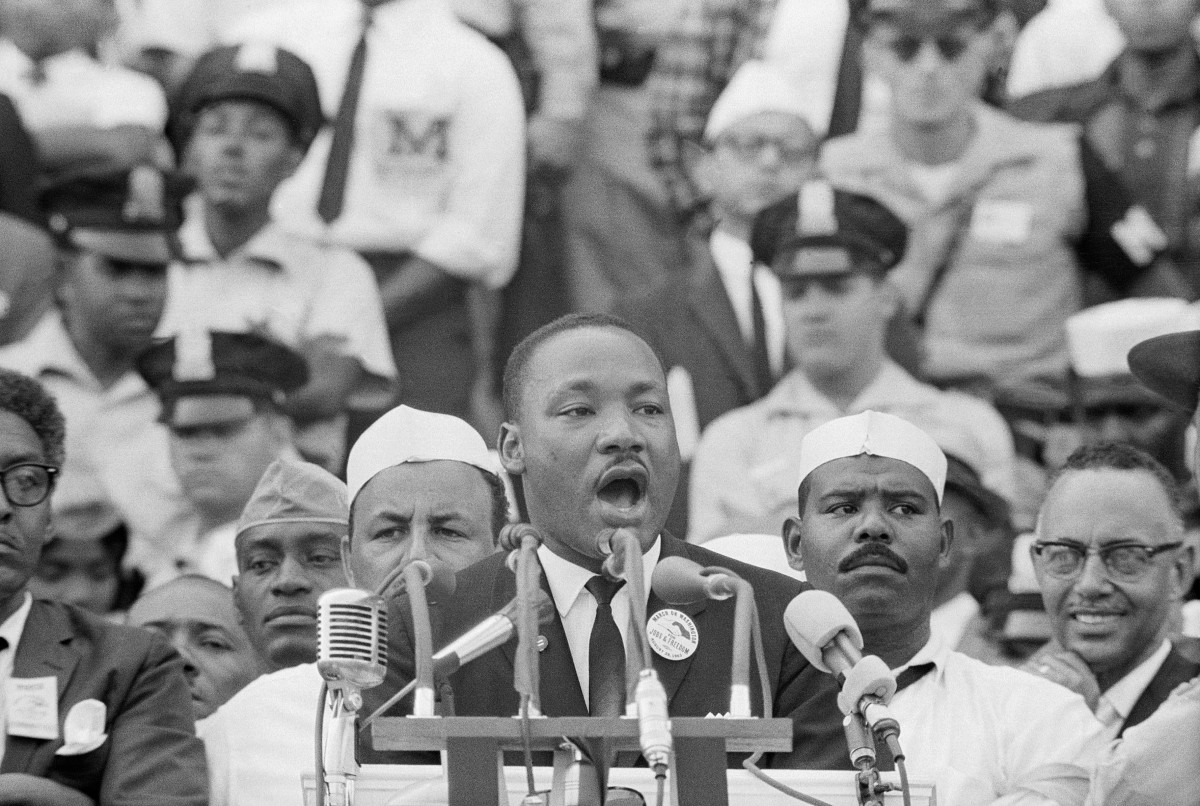 """Martin Luther King Jr. delivers his famous """"I Have a Dream"""" speech in front of the Lincoln Memorial during the March on Washington on August 28, 1963"""