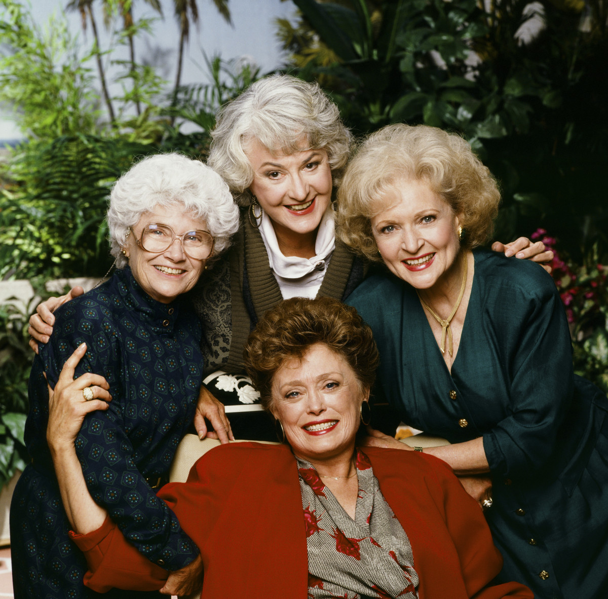 """""""The Golden Girls"""": (clockwise from left) Estelle Getty as Sophia Petrillo, Bea Arthur as Dorothy Petrillo Zbornak, Betty White as Rose Nylund, Rue McClanahan as Blanche Devereaux"""