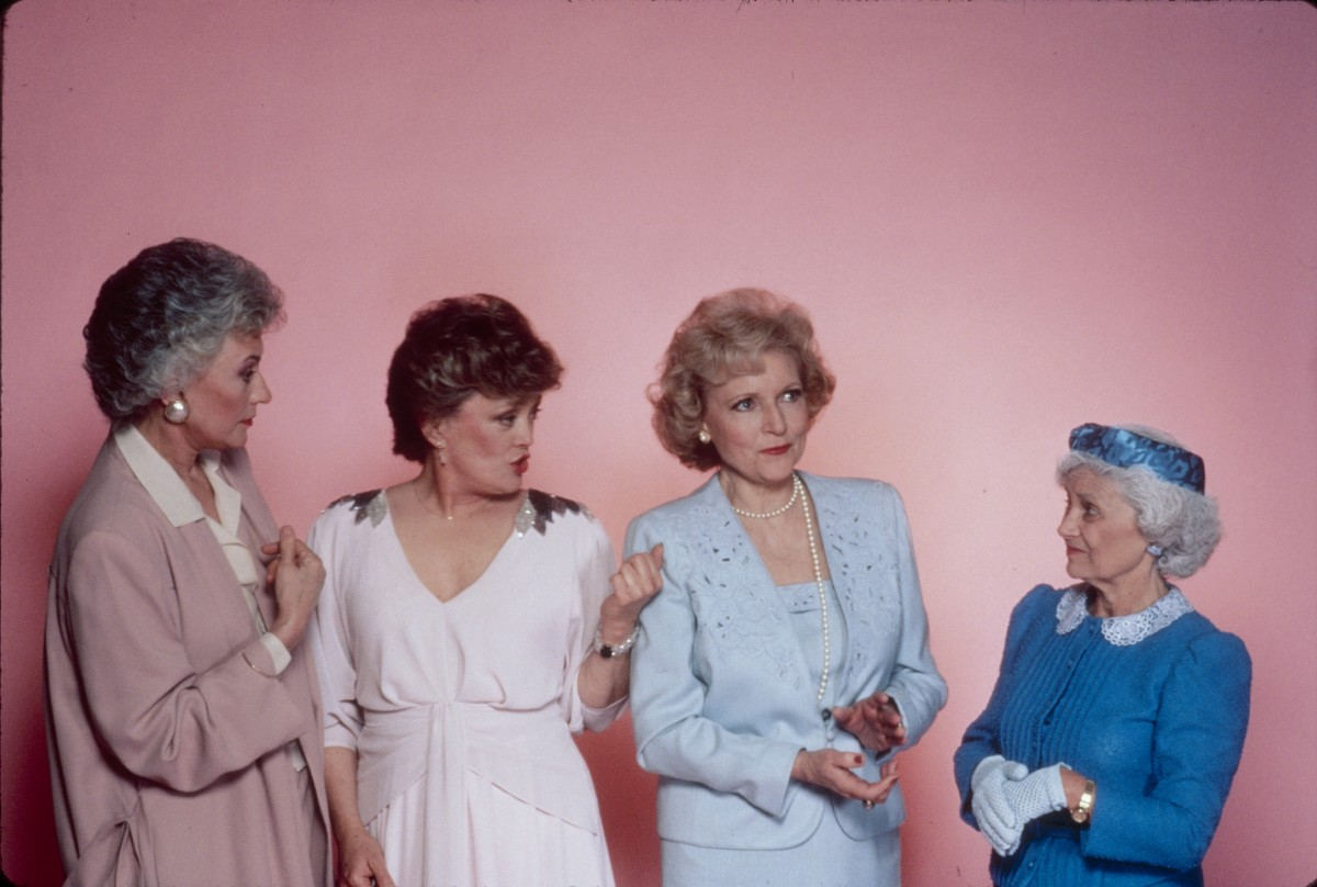"""The cast of """"The Golden Girls"""": (L-R) Bea Arthur as Dorothy Petrillo Zbornak, Rue McClanahan as Blanche Devereaux, Betty White as Rose Nylund, Estelle Getty as Sophia Petrillo"""