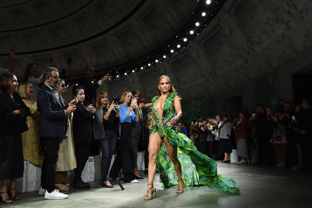 Jennifer Lopez walks the runway at the Versace show during Milan Fashion Week Spring/Summer 2020 on September 20, 2019, in Milan, Italy.
