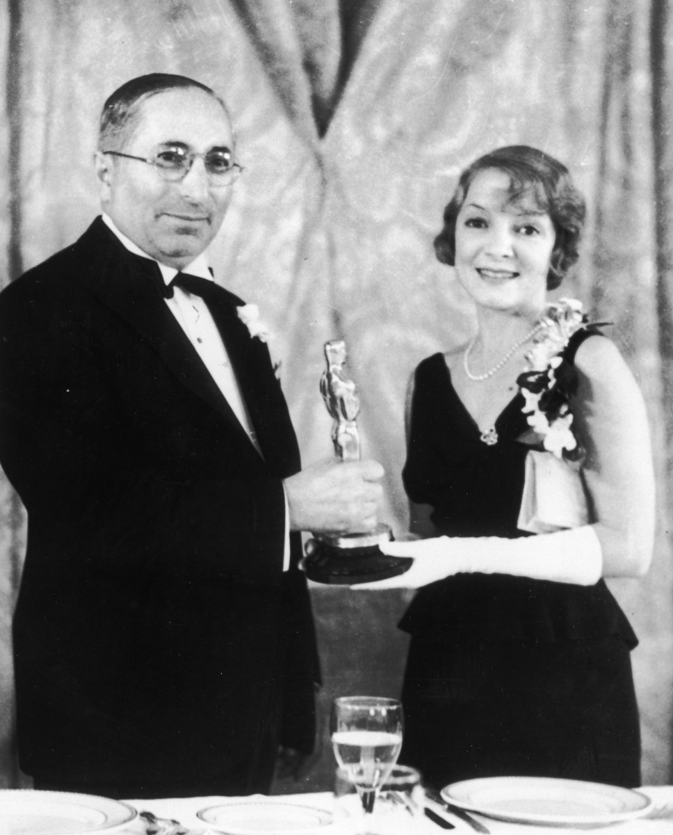 Helen Hayes receiving an Oscar for her role in 'The Sin of Madelon Claudet'
