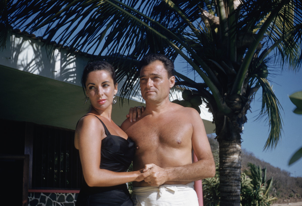 Elizabeth Taylor and husband Mike Todd on their honeymoon, February 1957