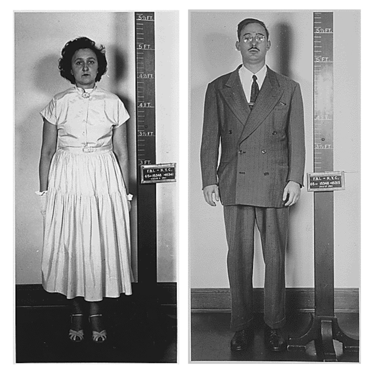 Ethel and Julius Rosenberg following their arrest by the FBI in New York City for espionage, 1950.