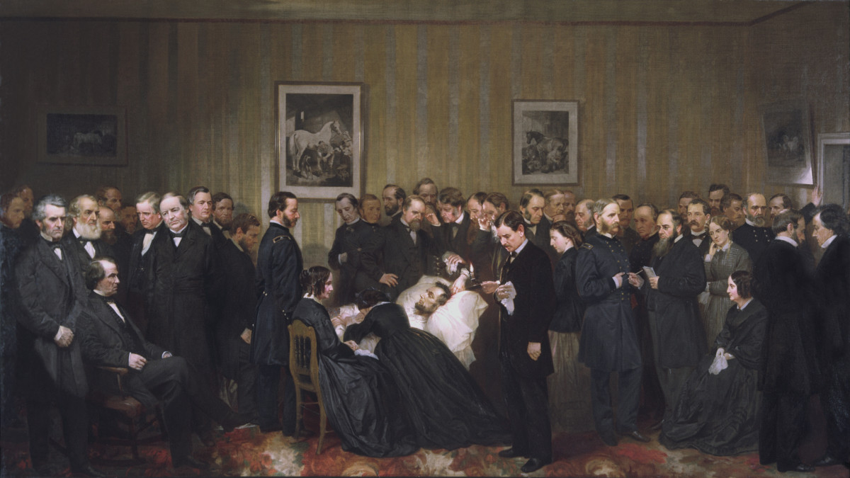 Painting entitled 'The Last Hours of Abraham Lincoln,' 1868.