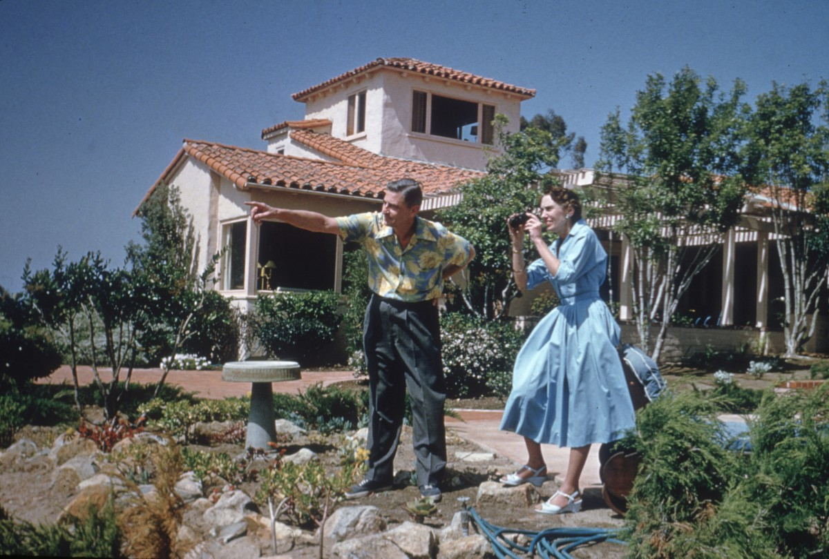 Dr. Seuss and his wife, Helen, outside their home in La Jolla, California, April 25, 1957.